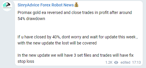 The developers are going to update the system after 54% drawdowns
