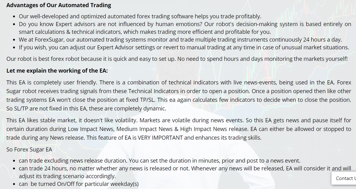 Features of Forex Sugar EA