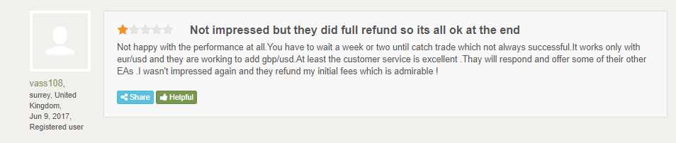 Customer review on FPA