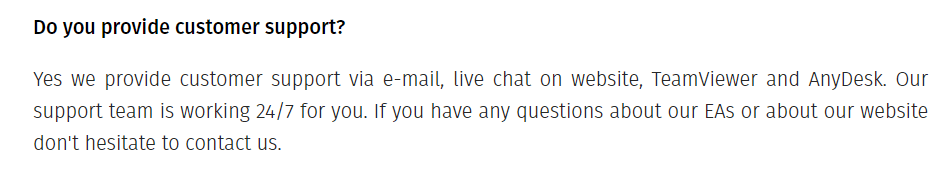 Customer support for Happy Gold EA
