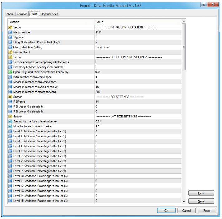 Killa Gorilla FX Master settings table