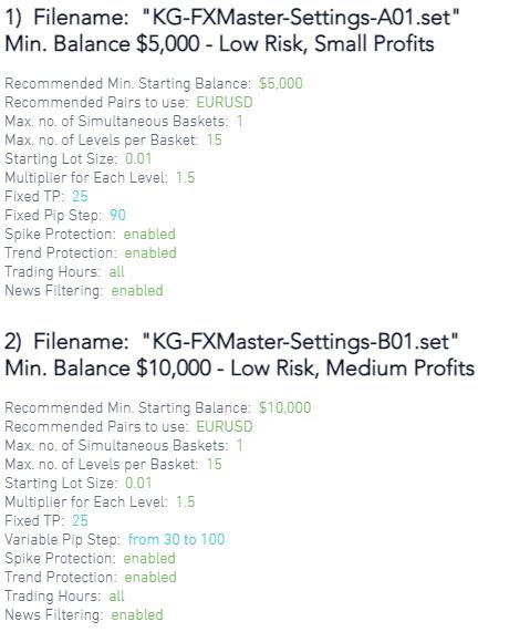 Killa Gorilla FX Master trading settings