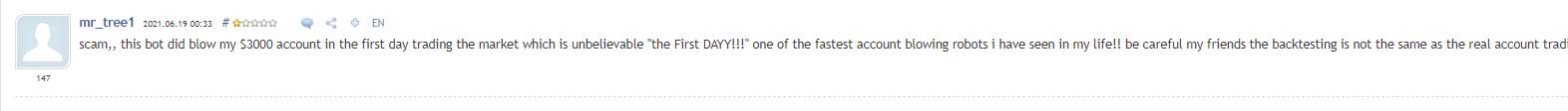 Customer review on MQL 5 community