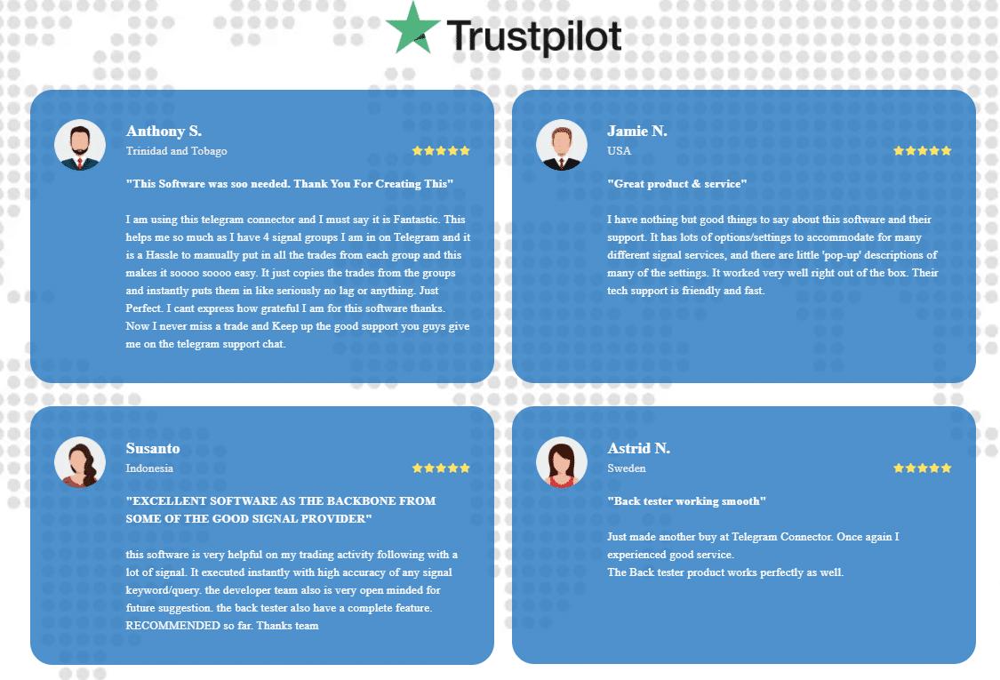 Telegram Connector people's testimonials