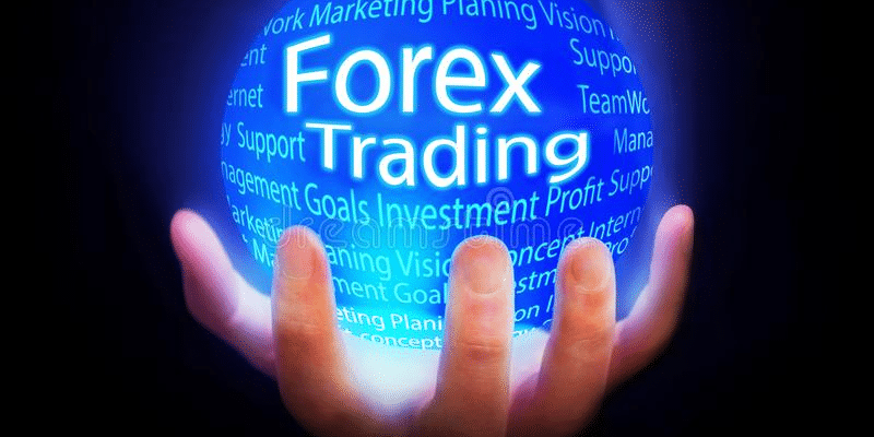 """""""Forex trading""""text in the form of a globe in the palm"""