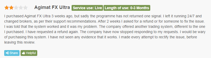 Client complaining that Agimat FX Ultra hasn't returned any signal