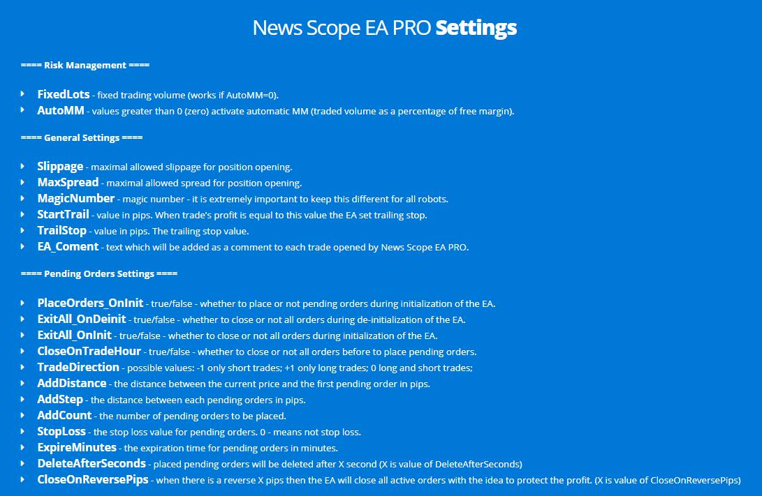 News Scope EA Pro settings