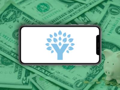 Logo og YNAB on the background with dollars