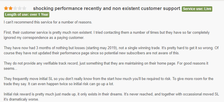 User complaining of poor customer service and big losses