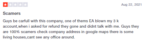 User complaining that the company is a scam