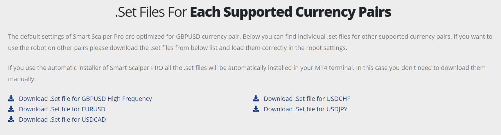 Set files for Smart Scalper Pro