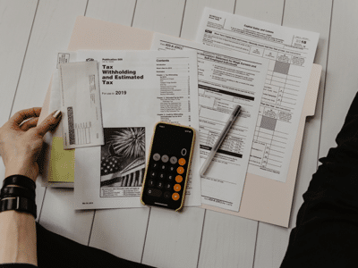 Man counting taxes
