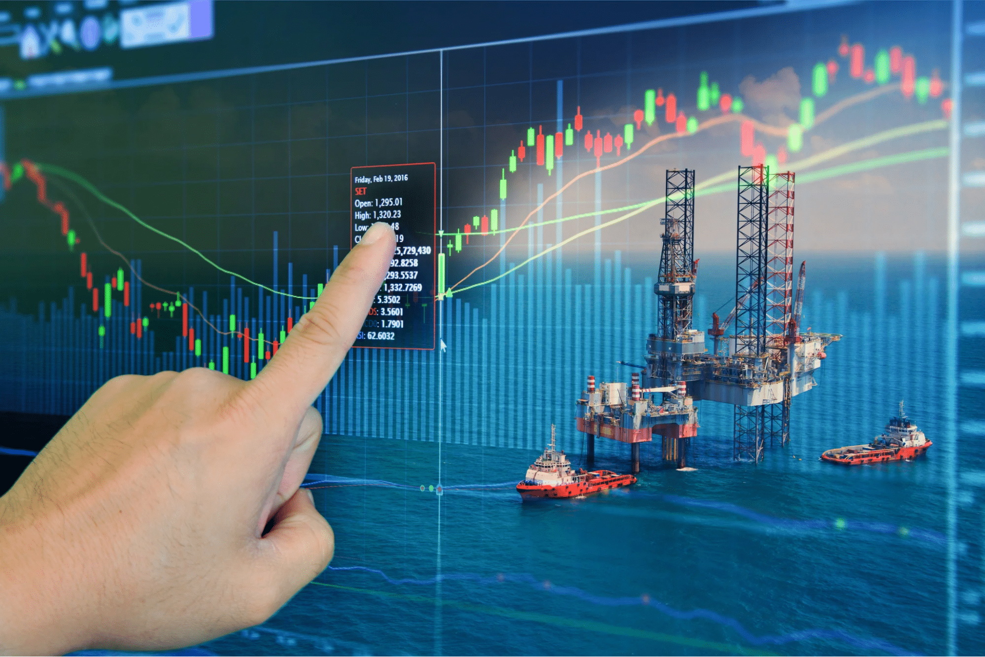 trading chart and natural gas drilling station